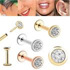 14K Gold Low Profile Bezel CZ Cartilage, Helix, Tragus, Monroe, Labret - 18 Gauge