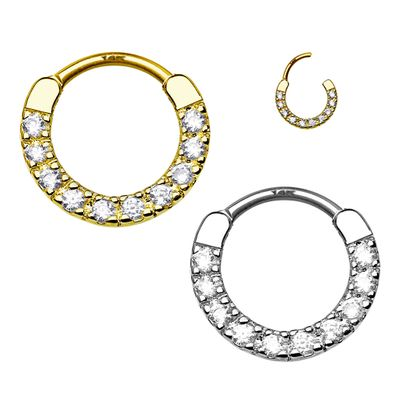 14K Gold Daith, Rook, Septum, Cartilage Jeweled Clicker Ring - 16G