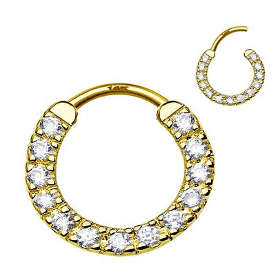 """14K Gold Jeweled 16G, 3/8"""" Clicker Ring - Daith, Rook, Septum, Cartilage"""