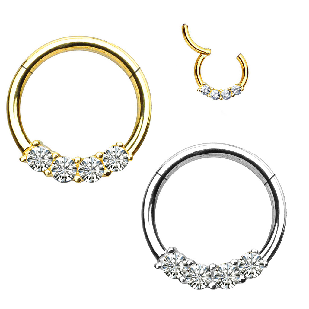 14k Gold Daith Rook Septum Cartilage Jeweled Seamless Clicker Ring 18g