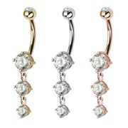 14K Solid Gold Dangling Triple Gem Belly Button Ring