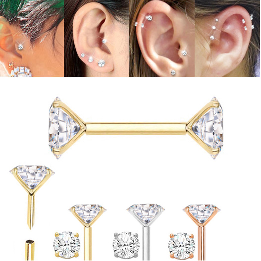 130341d73 14K Gold Double Bling Push-In Single Earring for Cartilage, Helix, Tragus,  Conch, Earlobe - 18G