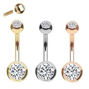 14K Gold Double Gem Halo Belly Button Ring