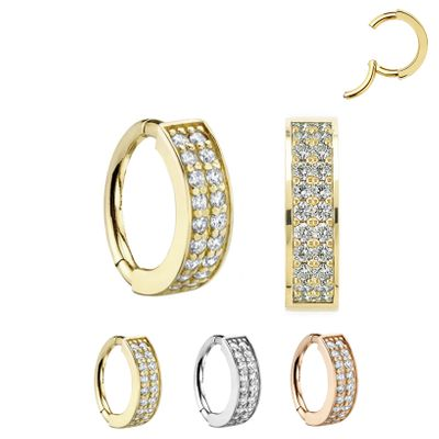 14K Gold Double Pave Seamless Clicker Ring - Helix, Rook, Earlobe