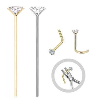 14K Gold Fishtail Nose Stud - Bend To Fit