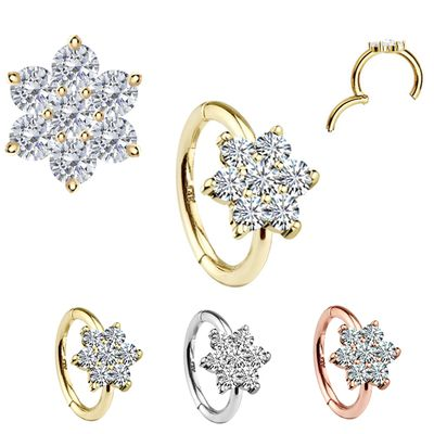 14K Gold Flower Seamless Clicker Ring - Cartilage, Rook, Helix