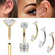 14K Gold Front Facing 3mmx4mm Double Gem Curved Barbell - Rook, Anti-Tragus, Daith, Eyebrow