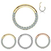 14K Gold Front Pave Clicker Ring - Cartilage, Daith, Septum, Helix