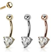 14K Gold Heart Prong Setting Belly Button Ring