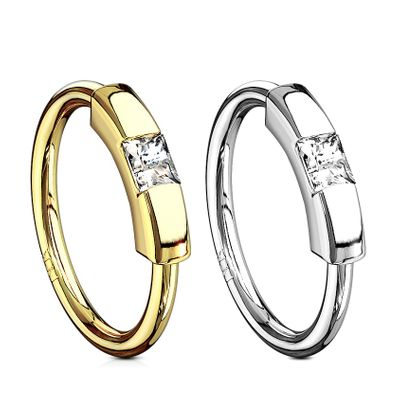 14K Gold Princess Cut CZ Segment Hoop Ring