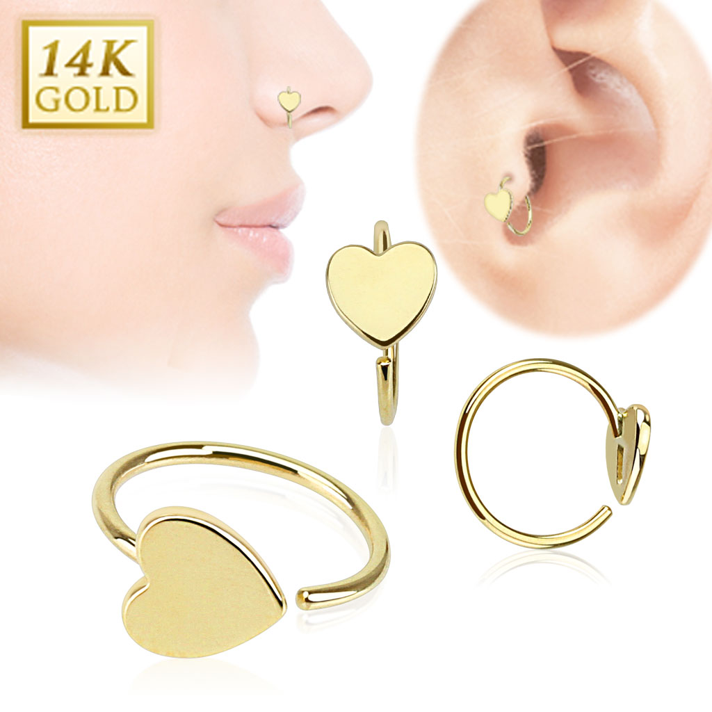 14k Gold Heart Hoop Ring For Nose Cartilage Helix Daith Tragus