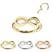 14K Gold Infinity Seamless Clicker Ring - Helix, Rook, Tragus