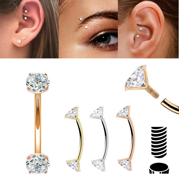 14k Gold Threaded 16g Curved Barbell For Rook Eyebrow Daith Piercing