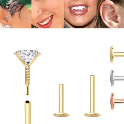 14K Gold Internally Threaded Screw-On 18G Replacement Post