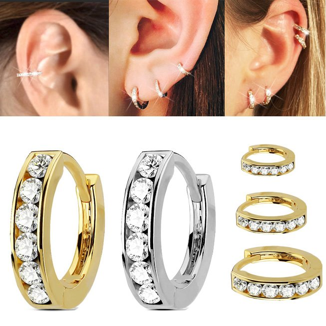 14k Gold Jeweled Cartilage Helix Conch Single Hoop Earring