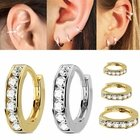14K Gold Jeweled Cartilage, Helix, Conch Single Hoop Earring