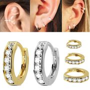 14K Gold Jeweled Single Hoop - Cartilage, Helix, Conch, Nose