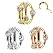 14K Gold Jeweled Triple Band 18G Seamless Cartilage Clicker Ring