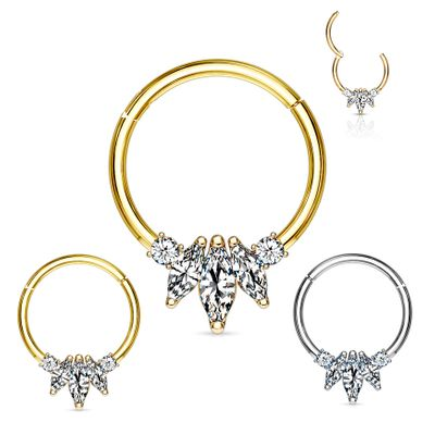 14K Gold Marquise Seamless Hinged Clicker Ring for Cartilage, Daith, Rook, Septum