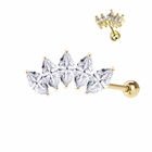 14K Gold Marquise Tiara Single Earring for Cartilage, Tragus, Helix (20G, Ball Back)