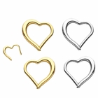 14K Gold Open Heart Daith, Rook, Helix Seamless Hinged Clicker Ring - 16G