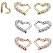 14K Gold Pave Open Heart Seamless 16G Clicker Ring - Daith, Rook
