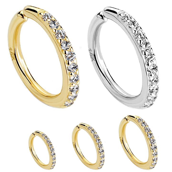 14k Gold Paved Cz Bendable Hoop Rings For Cartilage Helix Nose