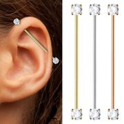 14K Gold Prong CZ Industrial Barbell
