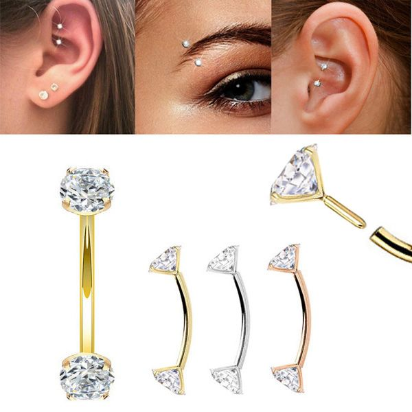 14k Gold Push In Curved Cz Barbell Rook Eyebrow Daith