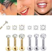 14K Solid Gold Push-In Prong-Setting CZ Labret - 14 Gauge