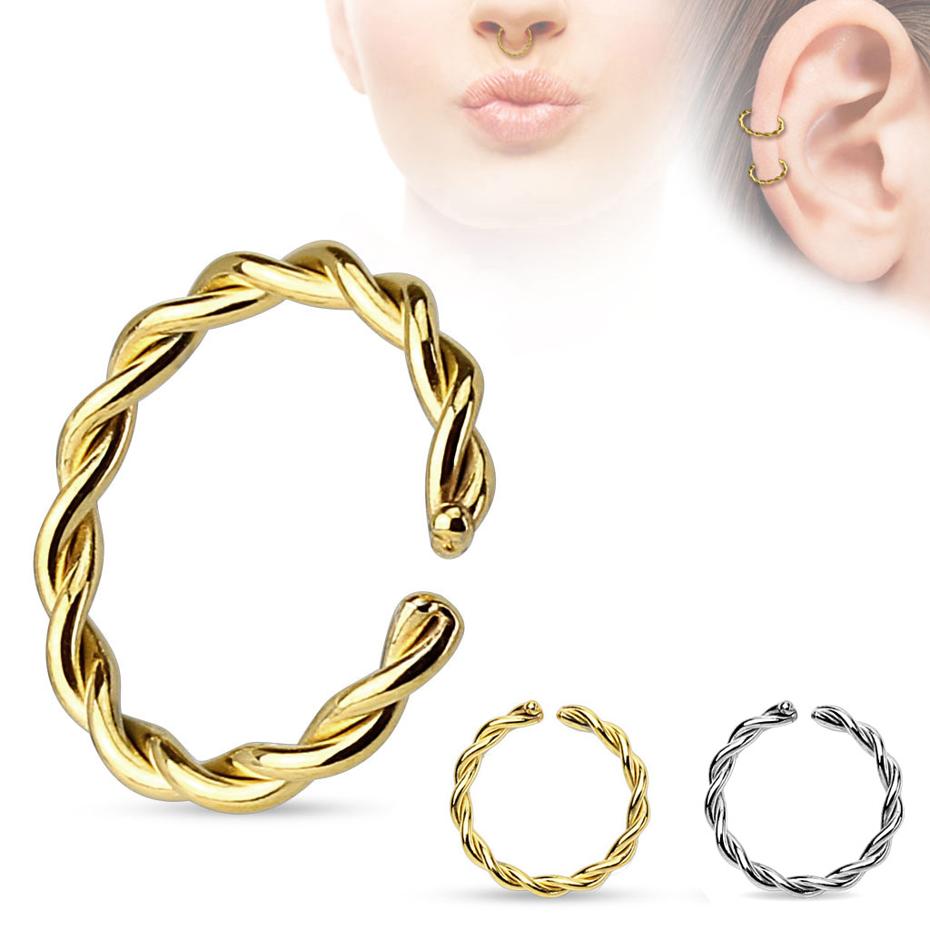 7413e45950943 (DISCONTINUED) 14K White Gold Braided Hoop for Nose, Cartilage, Daith,  Septum