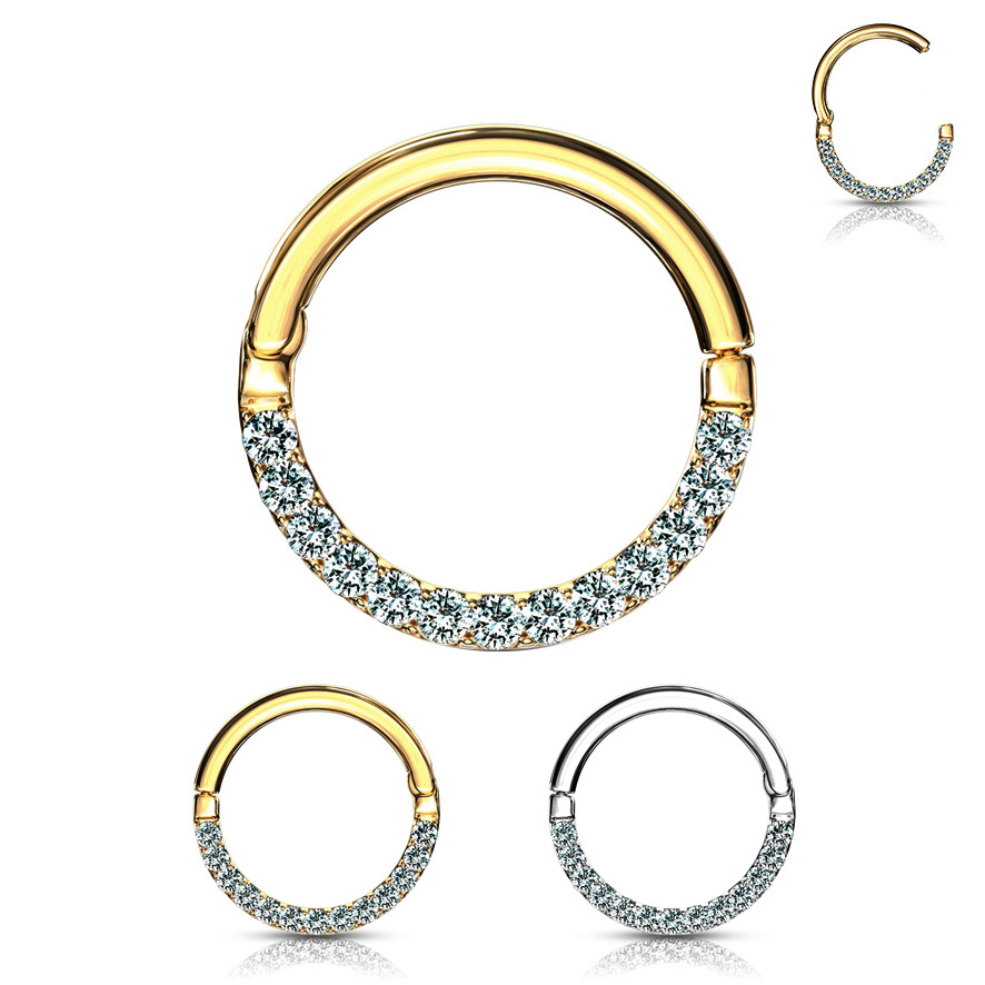 4a158ad9a 14K Gold Seamless Hinged Jeweled Clicker Ring for Daith, Rook, Septum and  More -. Hover to zoom