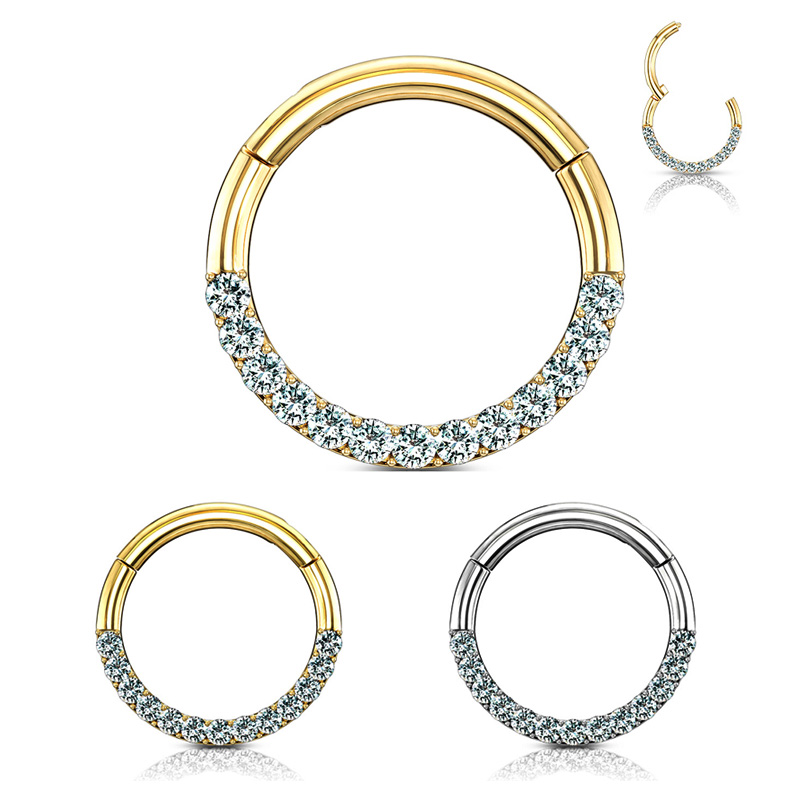 14k Gold Seamless Jeweled 16g Clicker Ring Daith Rook Septum