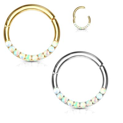 14K Gold Seamless Hinged Opal Clicker Ring for Cartilage, Daith, Rook, Septum