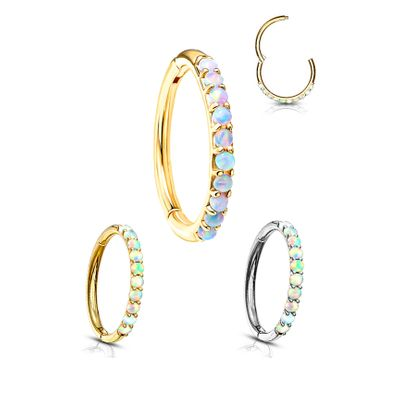 14K Gold Seamless Hinged Opal Clicker Ring for Cartilage, Helix, Daith, Rook, Earlobe