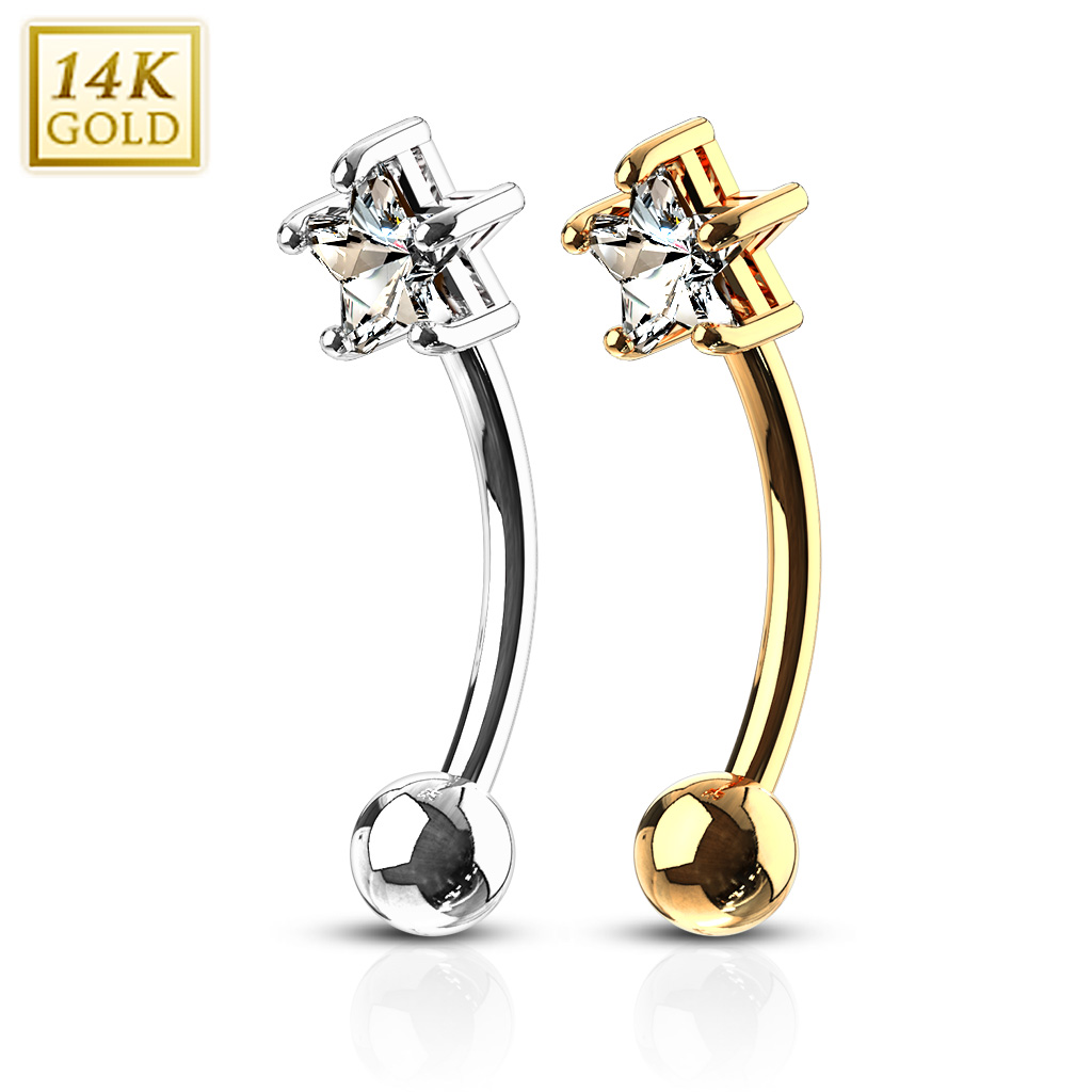 a107dafb917 14K Gold Star CZ Curved Barbell for Eyebrow, Daith, Rook Piercing