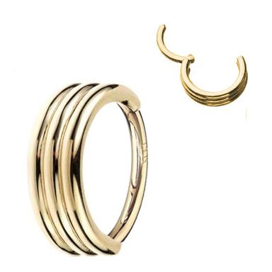 14K Yellow Gold Triple Stack Cartilage, Helix Clicker Ring - 16G