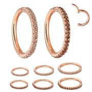 14K Rose Gold Pave Clicker Ring - Helix, Conch, Rook, Earlobe
