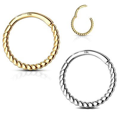 14K Solid Gold Braided Hinged Clicker Ring for Cartilage, Helix, Daith, Septum - 16G