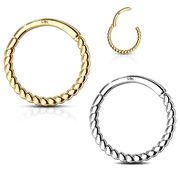 14K Gold Braided 16G Clicker Ring - Cartilage, Helix, Daith, Septum