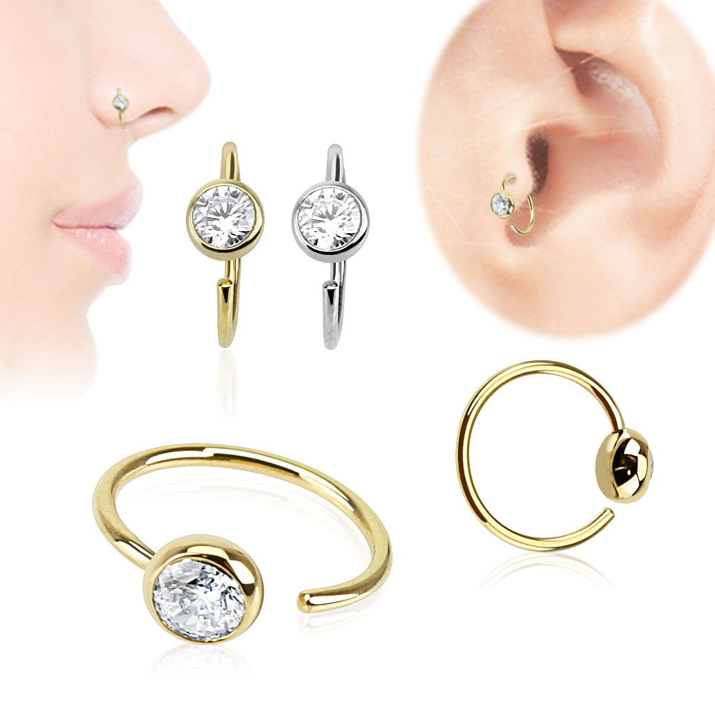 5eaace4c8 14K Gold CZ Ball Hoop Ring for Nose, Cartilage, Tragus Earring