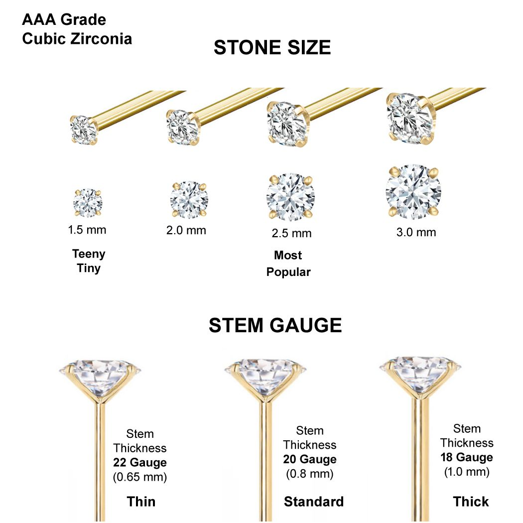 Piercing Deals 22g Thickness Wearable Nose Straight Stud 14k Gold Nose Rings with CZ Stud Prong