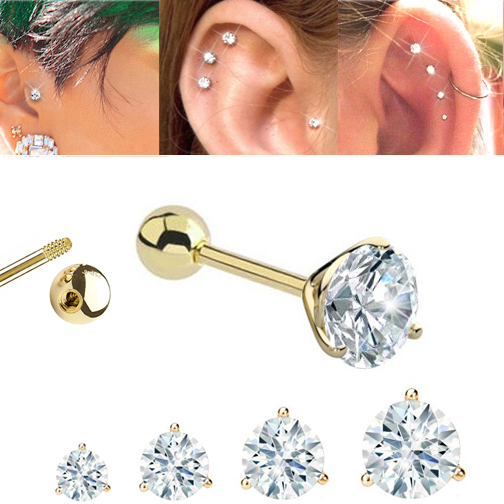 14k Gold Low Profile Tri G Cz Single Barbell Earring For Cartilage Tragus Helix 17g