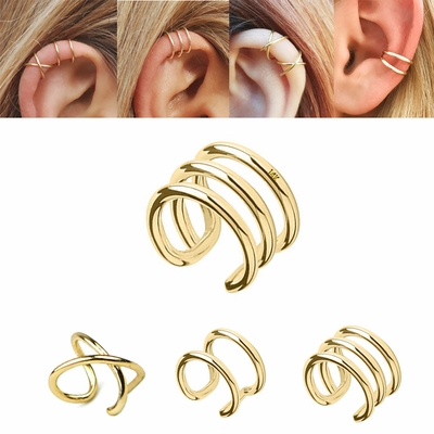14k Solid Gold Celebrity Non Piercing Cartilage Helix Ear Cuff
