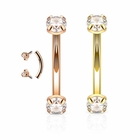 16G Internal Threaded Prong-Setting CZ Curved Barbell for Rook, Eyebrow, Daith, Cartilage