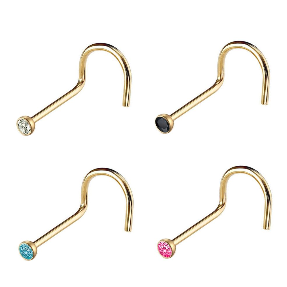 4pcs Mixed Colors Gem Nose Ring Surgical Steel Screws Gemmed body jewelry 20ga