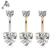 316L Internally Threaded Double Prong CZ Heart Belly Button Ring