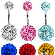 00a4fef5e 360 Double Crystal Belly Button Ring by Ferido