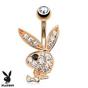 Playboy Pave Rose Gold Belly Button Ring