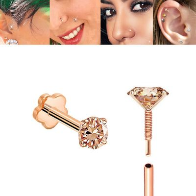 Cognac DIAMOND Internally Threaded 14K Rose Gold Anti-Slip Flat Back Cartilage Stud Earring
